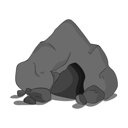 Icona della caverna in stile monocromatico isolato su sfondo bianco. Illustrazione vettoriale simbolo età di pietra.