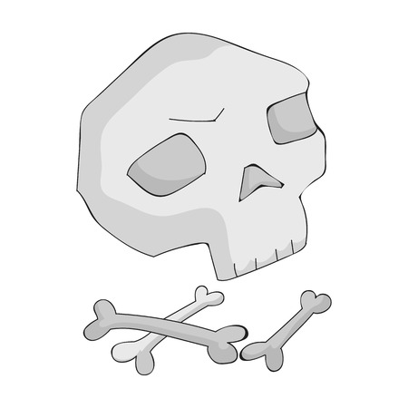 Human ancient bones icon in monochrome style isolated on white background. Stone age symbol vector illustration. Illustration