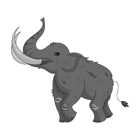 tusk: Woolly mammoth icon in monochrome style isolated on white background. Stone age symbol vector illustration. Illustration