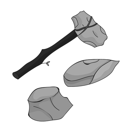 Stone tools icon in monochrome style isolated on white background. Stone age symbol vector illustration.  イラスト・ベクター素材