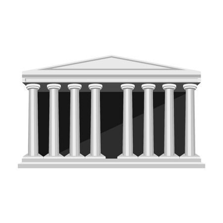 roman pillar: Antique greek temple icon in monochrome style isolated on white background. Greece symbol vector illustration.