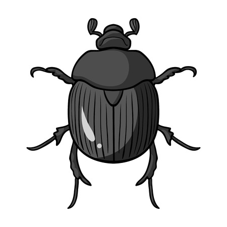 geotrupidae: Dor-beetle icon in monochrome design isolated on white background. Insects symbol stock vector illustration.