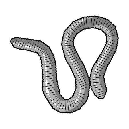 lombriz de tierra: icono de la lombriz de tierra en el diseño blanco y negro sobre fondo blanco. Insectos símbolo ilustración stock de vectores. Vectores