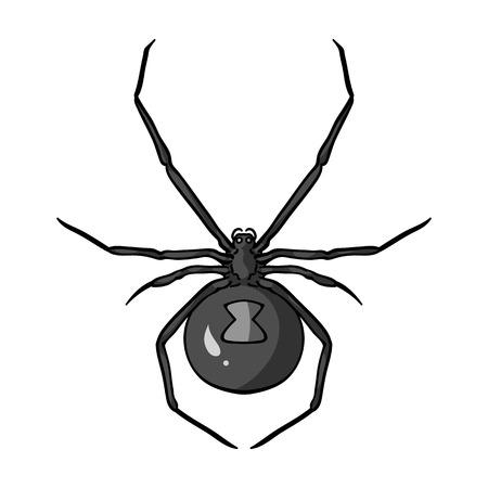 Icono negro araña viuda en el diseño blanco y negro sobre fondo blanco. Insectos símbolo ilustración stock de vectores.