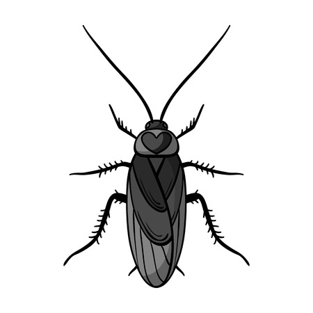 Cockroach icon in monochrome design isolated on white background. Insects symbol stock vector illustration.