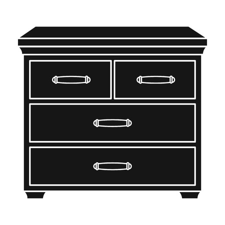 joinery: Wooden cabinet with drawers icon in black style isolated on white background. Furniture and home interior symbol vector illustration.
