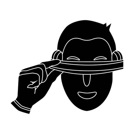 Player with virtual reality headblack icon in black style isolated on white background. Virtual reality symbol stock vector illustration.