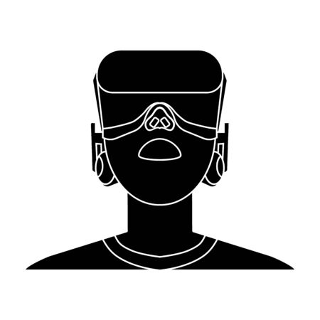 cyber woman: Player with virtual reality headblack icon in black style isolated on white background. Virtual reality symbol stock vector illustration.