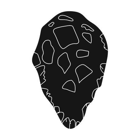 habilis: Stone tool icon in black style isolated on white background. Stone age symbol vector illustration.