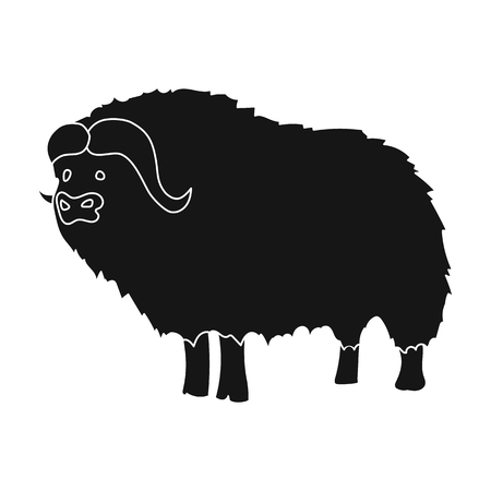 Muskox of stone age icon in black style isolated on white background. Stone age symbol vector illustration.
