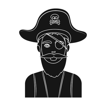 Pirate with eye patch icon in black style isolated on white background. Pirates symbol vector illustration. Illustration