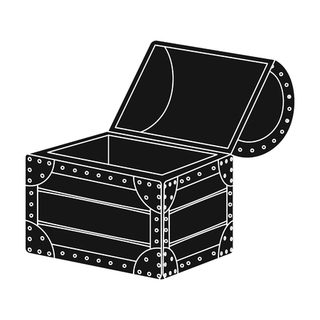Pirate wooden chest icon in black style isolated on white background. Pirates symbol vector illustration.