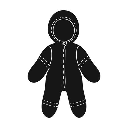 romper: Baby bodysuit icon in black style isolated on white background. Baby born symbol vector illustration. Illustration