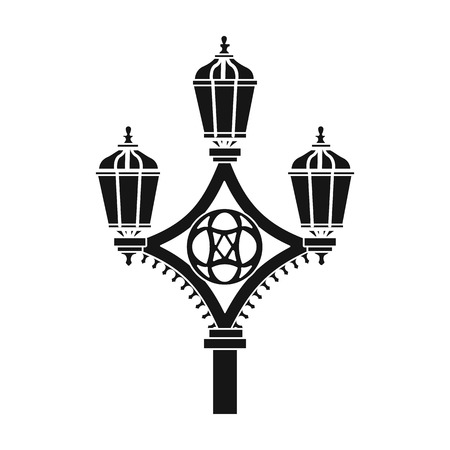 Street light icon in black style isolated on white background. England country symbol vector illustration. Illustration