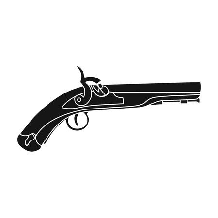armory: Pistol icon in black style isolated on white background. England country symbol vector illustration.
