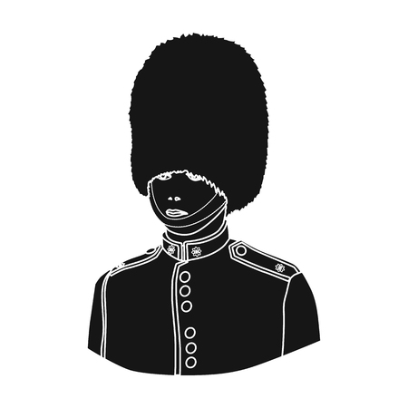 royal person: Queens guard icon in black style isolated on white background. England country symbol vector illustration.