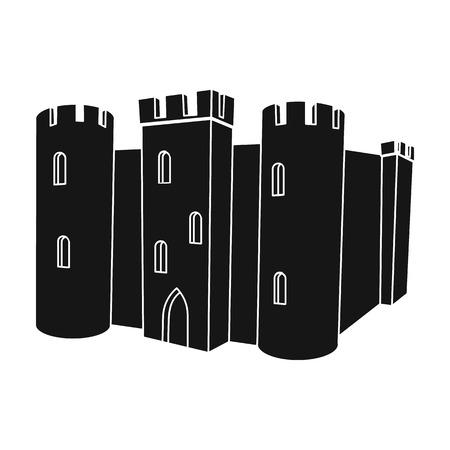 loophole: English castle icon in black style isolated on white background. England country symbol vector illustration.