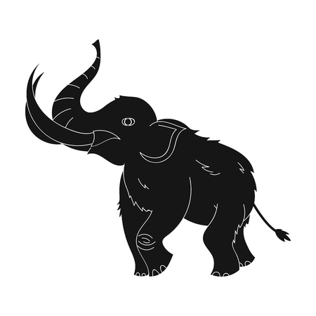 black mammoth: Woolly mammoth icon in black style isolated on white background. Stone age symbol vector illustration.