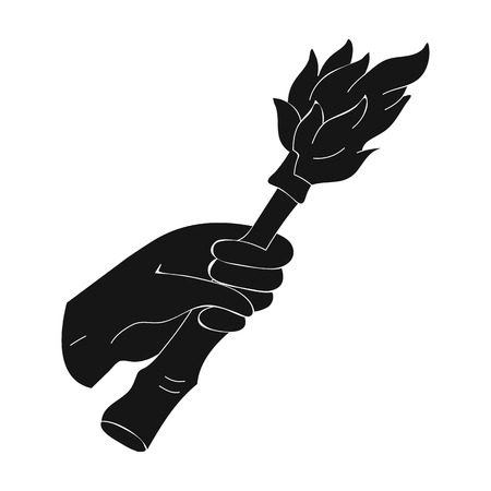Burning torch in the hand icon in black style isolated on white background. Stone age symbol vector illustration.