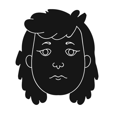 neanderthal women: Cavewoman face icon in black style isolated on white background. Stone age symbol vector illustration.