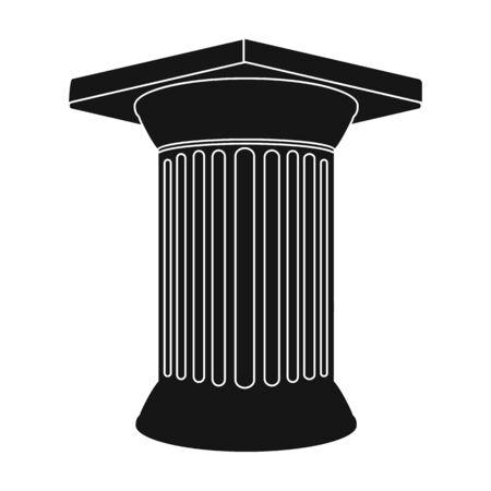 roman pillar: Antique column icon in black style isolated on white background. Greece symbol vector illustration.
