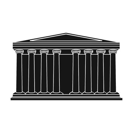 roman pillar: Antique greek temple icon in black style isolated on white background. Greece symbol vector illustration. Illustration