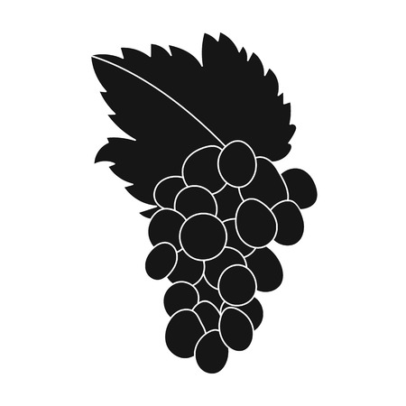 Bunch of grapes icon in black style isolated on white background. Greece symbol vector illustration.