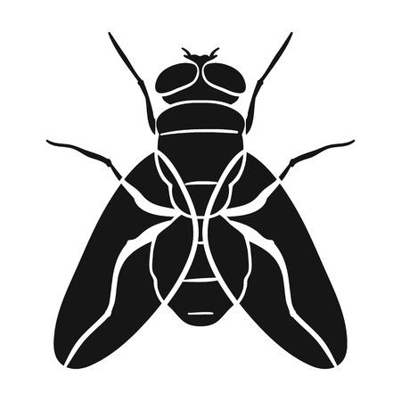 白い背景で隔離の黒のデザインのアイコンを飛ぶ。昆虫のシンボル株式ベクトル図です。