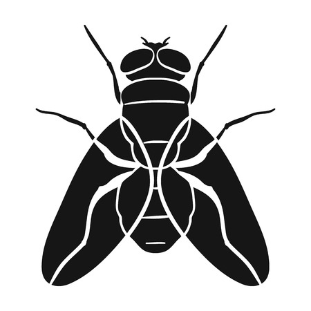 Fly icon in black design isolated on white background. Insects symbol stock vector illustration.