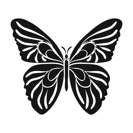 Butterfly icon in black design isolated on white background. Insects symbol stock vector illustration. Illustration