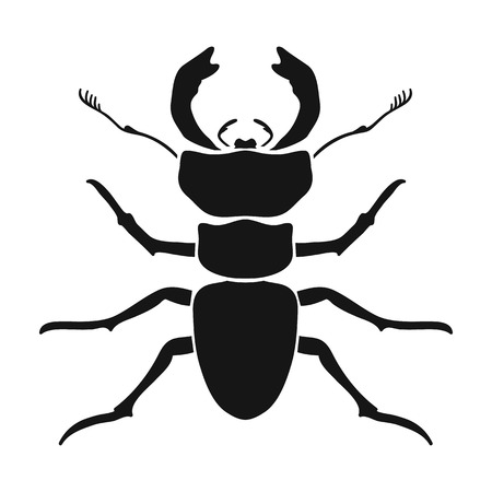 antennae: Forest red ant icon in black design isolated on white background. Insects symbol stock vector illustration. Illustration