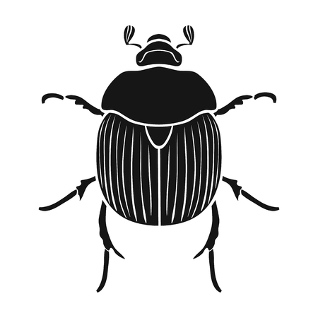 geotrupidae: Dor-beetle icon in black design isolated on white background. Insects symbol stock vector illustration.