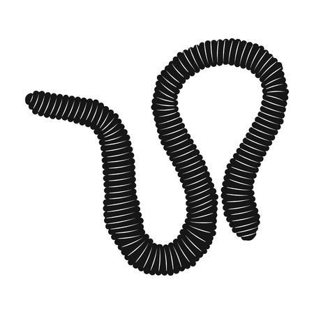 lombriz de tierra: icono de la lombriz de tierra en el diseño de negro sobre fondo blanco. Insectos símbolo ilustración stock de vectores.