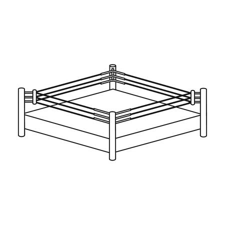 Boxring-Symbol im Umriss-Stil isoliert auf weißem Hintergrund. Boxensymbol Vektor-Illustration.