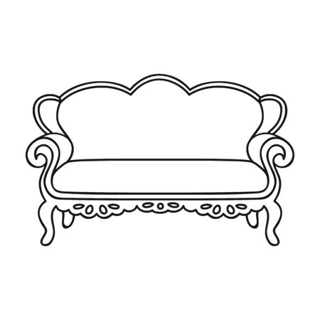 royal house: Vintage sofa icon in outline style isolated on white background. Furniture and home interior symbol vector illustration. Illustration