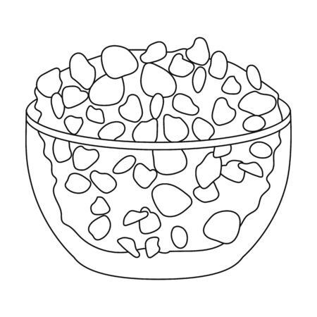 cottage cheese: Cottage cheese in the bowl icon in outline style isolated on white background. Milk product and sweet symbol vector illustration.
