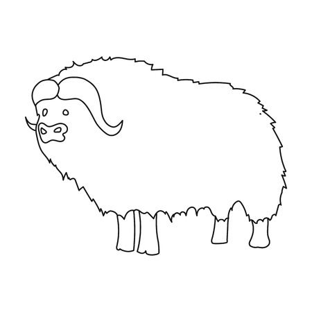 Muskox of stone age icon in outline style isolated on white background. Stone age symbol vector illustration. Illustration