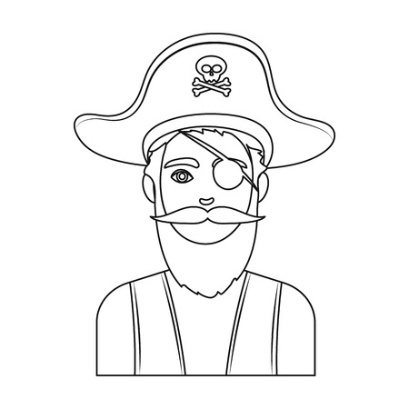eye patch: Pirate with eye patch icon in outline style isolated on white background. Pirates symbol vector illustration.