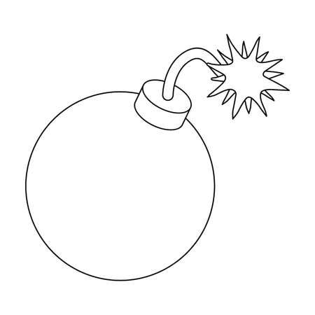 granade: Pirate grenade icon in outline style isolated on white background. Pirates symbol vector illustration.