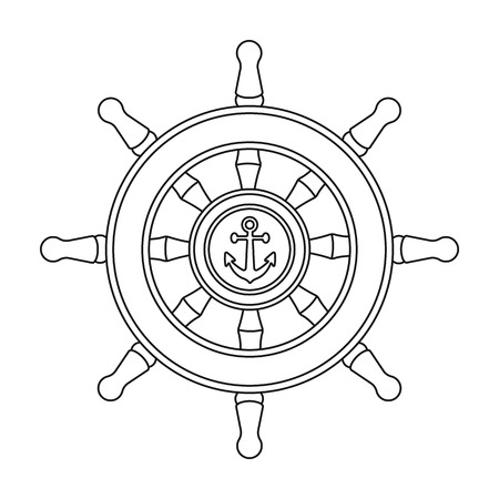ship steering wheel: Wooden ship steering wheel icon in outline style isolated on white background. Pirates symbol vector illustration. Illustration