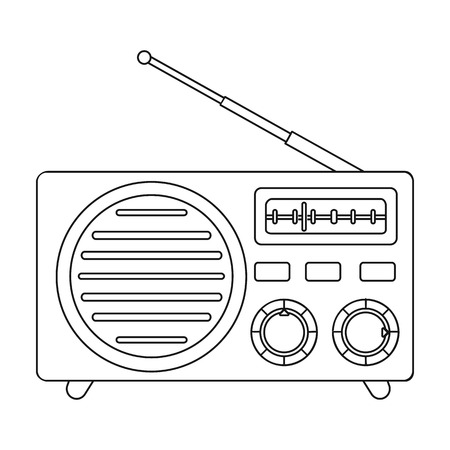 am radio: Radio advertising icon in outline style isolated on white background. Advertising symbol vector illustration. Illustration