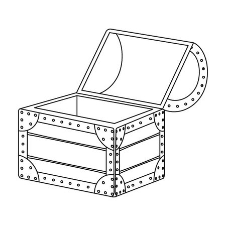 outdated: Pirate wooden chest icon in outline style isolated on white background. Pirates symbol vector illustration.