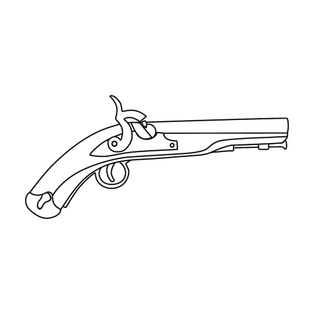armory: Pistol icon in outline style isolated on white background. England country symbol vector illustration. Illustration