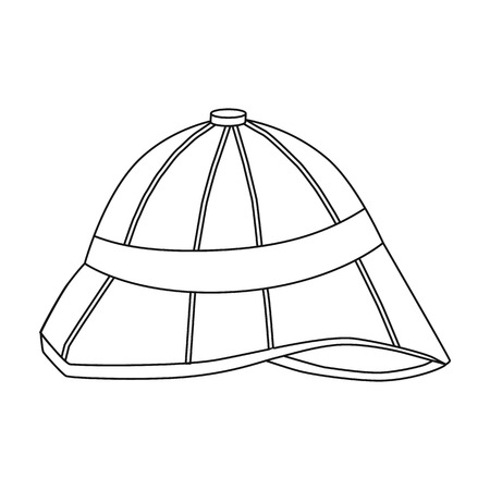 médula: Pith helmet icon in outline style isolated on white background. England country symbol vector illustration. Vectores