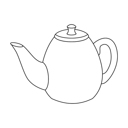 country kitchen: Teapot icon in outline style isolated on white background. England country symbol vector illustration.