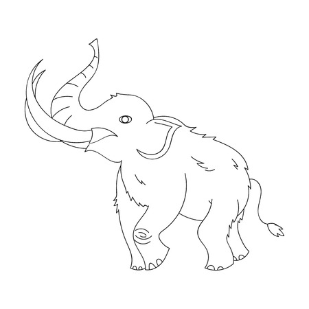 Woolly mammoth icon in outline style isolated on white background. Stone age symbol vector illustration. Illustration