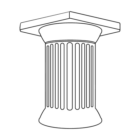 roman pillar: Antique column icon in outline style isolated on white background. Greece symbol vector illustration.