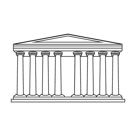 roman pillar: Antique greek temple icon in outline style isolated on white background. Greece symbol vector illustration.