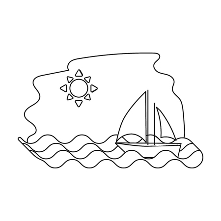 Sailing boat on the sea icon in outline style isolated on white background. Greece symbol vector illustration.