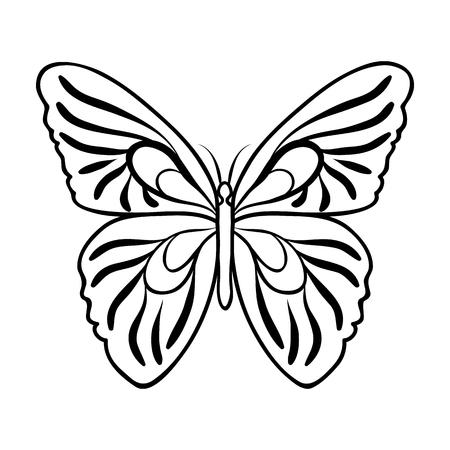 Vlinderpictogram in overzichtsontwerp op witte achtergrond wordt geïsoleerd die. Insecten symbool voorraad vectorillustratie